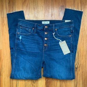 "NWT Madewell 10"" high-rise skinny, button closure"